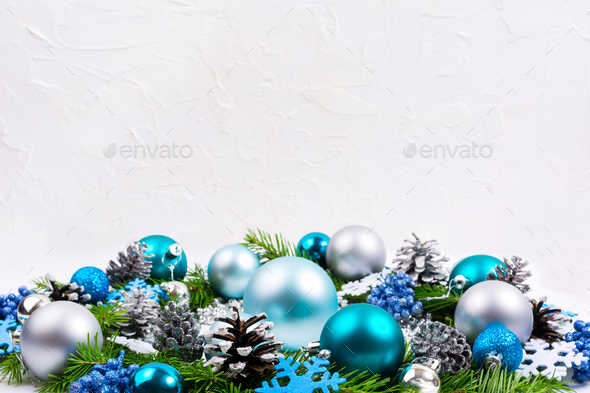 Christmas silver, pale blue, turquoise balls, glitter berries ba - Stock Photo - Images