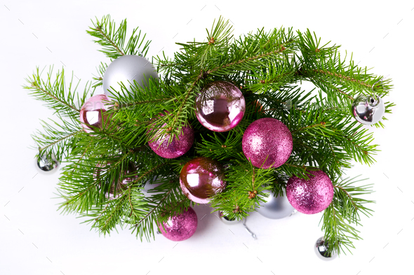 Christmas background with pink and silver balls door wreath - Stock Photo - Images