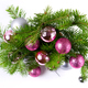 Christmas background with pink and silver balls door wreath - PhotoDune Item for Sale