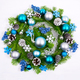 Christmas wreath with pale blue and turquoise baubles, silver be - PhotoDune Item for Sale