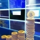 Mining Bitcoins with Moving Camera, Blue - VideoHive Item for Sale