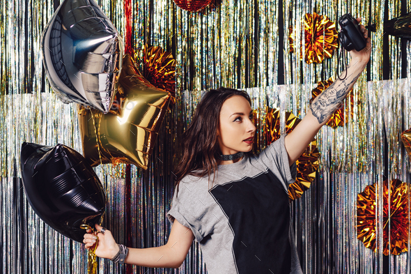 Party girl making selfie - Stock Photo - Images