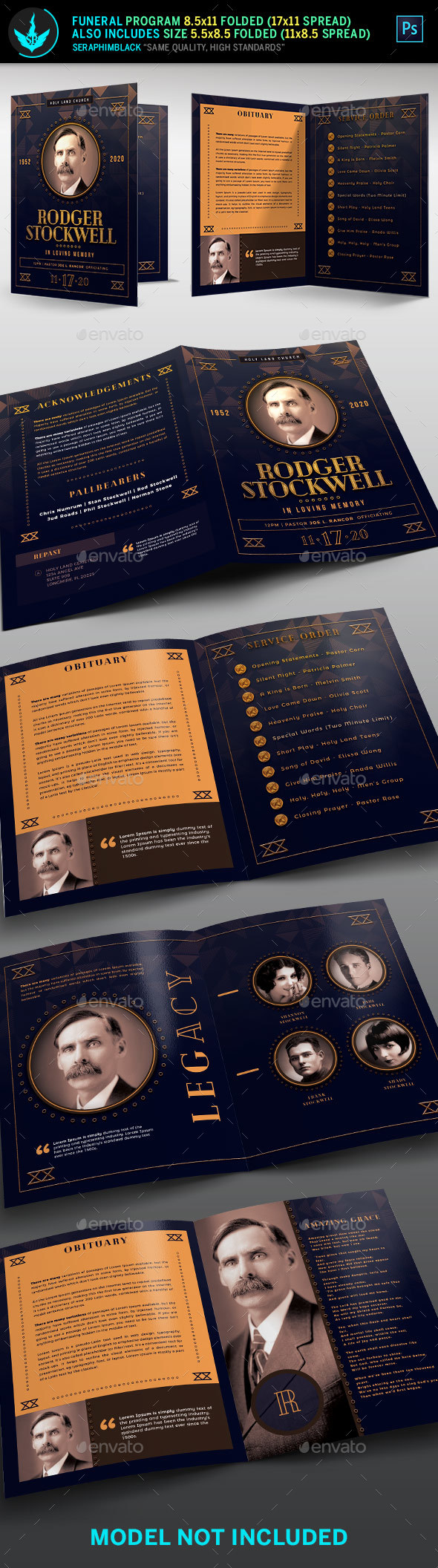 GraphicRiver Art Deco Funeral Program Template 21131352