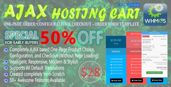 CodeCanyon Powerful AJAX Hosting Cart One-Page Order Configure & Checkout WHMCS Order Form Template 21131358