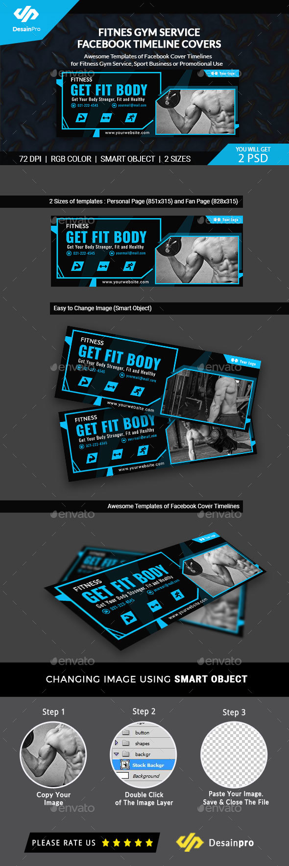 GraphicRiver Fitness and Gym FB Timeline Covers AR 21131692