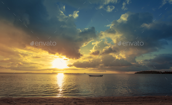 Fisherman boat with sunset scene in koh phangan. Horizontal imag - Stock Photo - Images