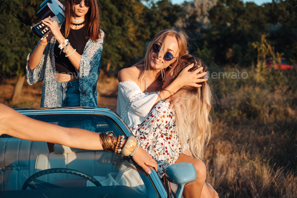 Girls have fun in the countryside - Stock Photo - Images