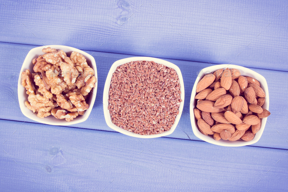 Healthy food containing omega 3 acids, natural minerals and dietary fiber - Stock Photo - Images