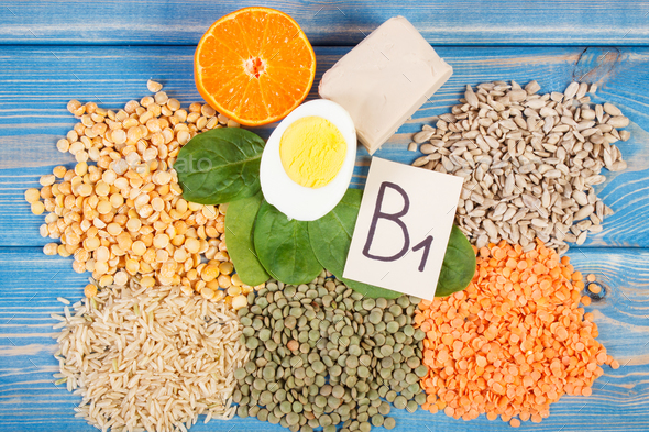 Ingredients containing vitamin B1 and dietary fiber, healthy nutrition - Stock Photo - Images