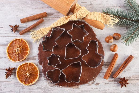 Dough for festive Christmas cookies, spice and ingredient for baking gingerbread - Stock Photo - Images
