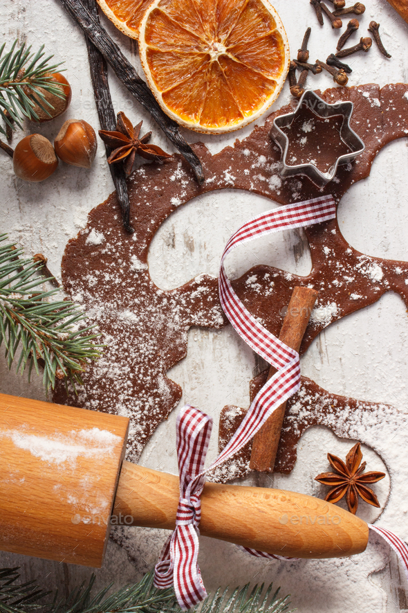 Dough for Christmas cookies, spice and ingredient for baking gingerbread, xmas time concept - Stock Photo - Images