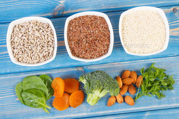 Products and ingredients containing calcium, minerals and dietary fiber, healthy nutrition - Stock Photo - Images
