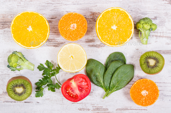Fruits and vegetables containing vitamin C, fiber and minerals - Stock Photo - Images
