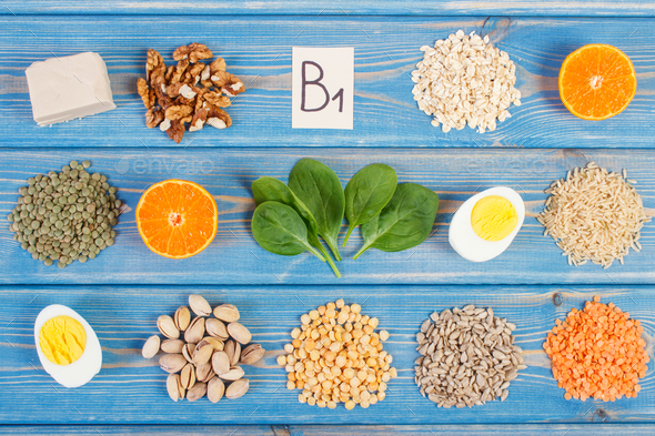 Ingredients containing vitamin B1, dietary fiber and minerals, healthy nutrition - Stock Photo - Images