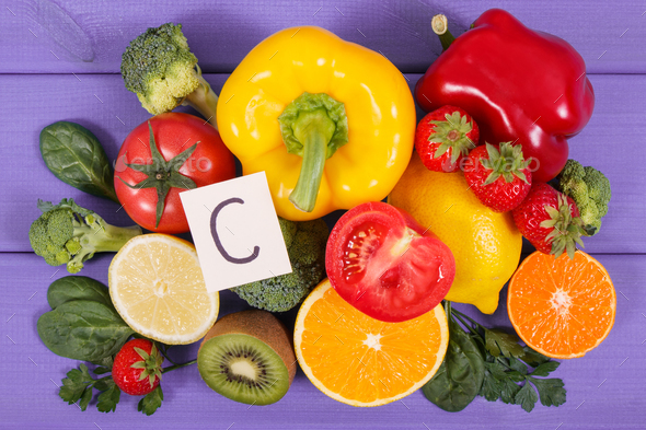 Fruits and vegetables as sources vitamin C, dietary fiber and minerals - Stock Photo - Images