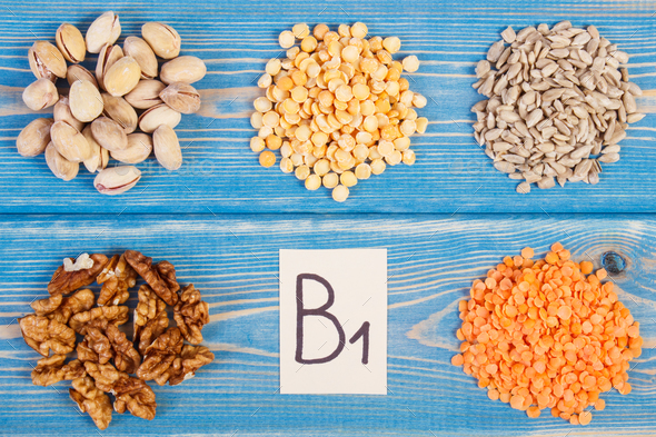 Products and ingredients containing vitamin B1 - Stock Photo - Images