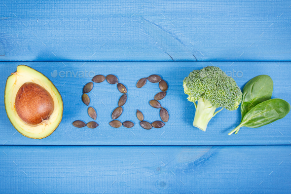 Natural sources of omega 3 acids, unsaturated fats and fiber, healthy nutrition concept - Stock Photo - Images
