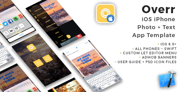 Overr | iOS iPhone Photo + Text App template (Swift) - CodeCanyon Item for Sale