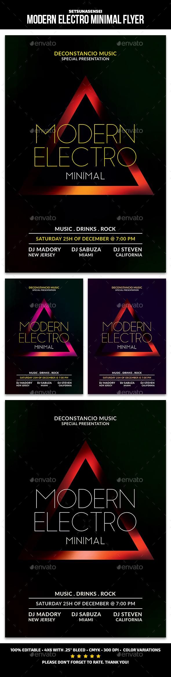 GraphicRiver Modern Electro Minimal Flyer 21132279