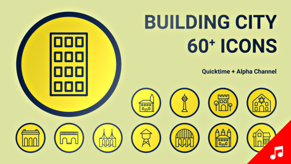 VideoHive Building City Icon Set line Motion Graphics Icons 21132342