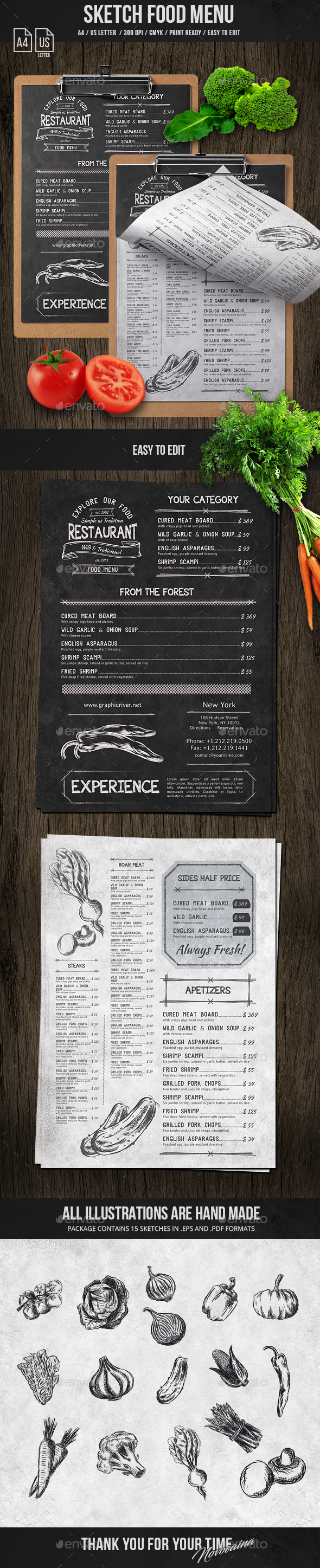 GraphicRiver Sketch A4 and US Letter Single Page Menu 21132597