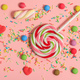 Colorful candies on pink background, top view - PhotoDune Item for Sale