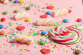 Colorful candies on pink background - PhotoDune Item for Sale