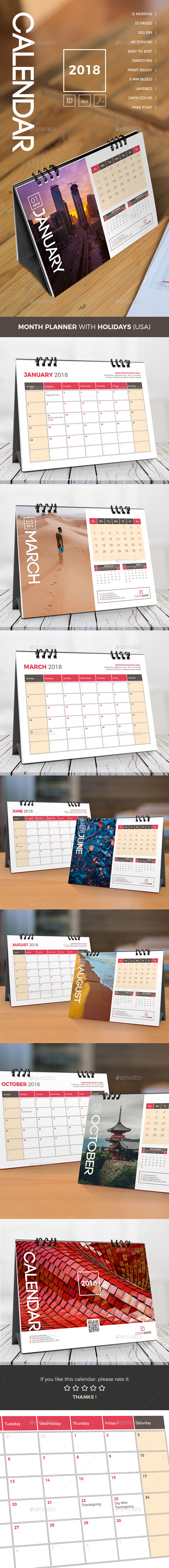 GraphicRiver Desk Calendar Planner 2018 21132967
