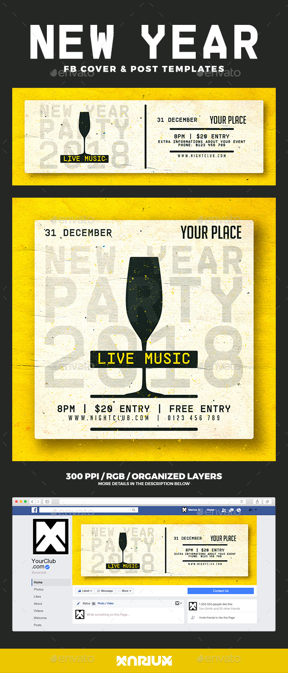 GraphicRiver New Year Party Facebook Cover 21133426