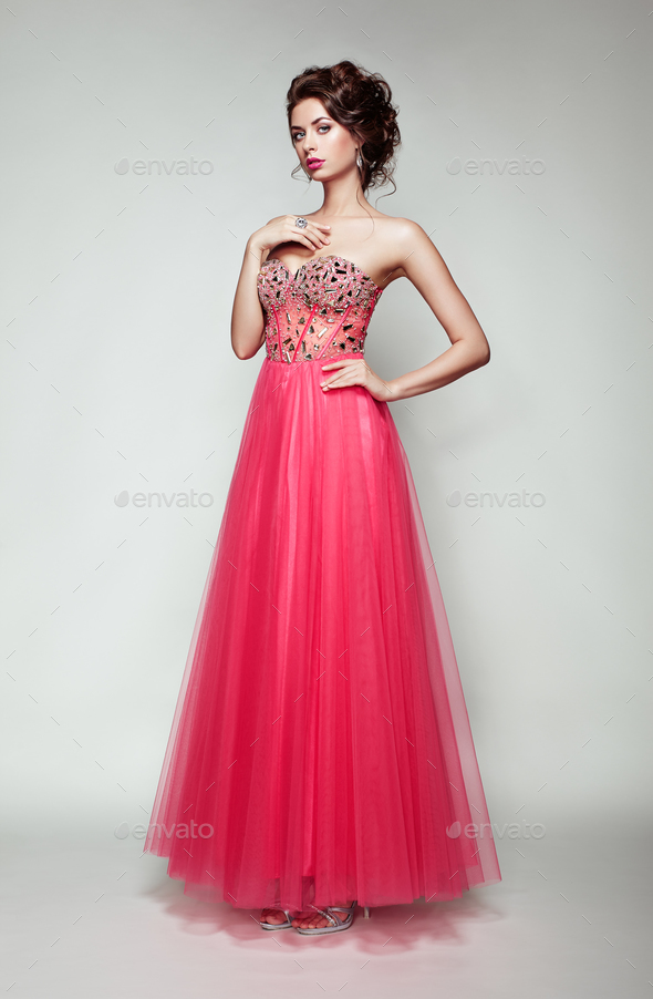 Fashion portrait of beautiful woman in elegant dress - Stock Photo - Images