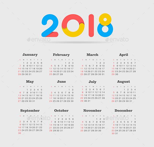 Vector Calendar 2018 year. Week Starts Sunday - Miscellaneous Vectors