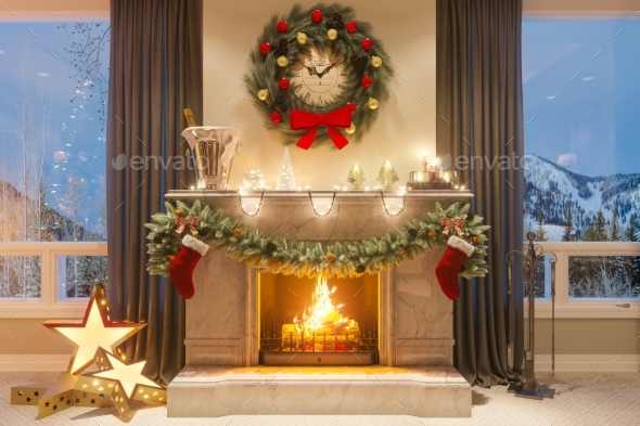 GraphicRiver 3D Illustration of a Christmas Interior with a 21133945