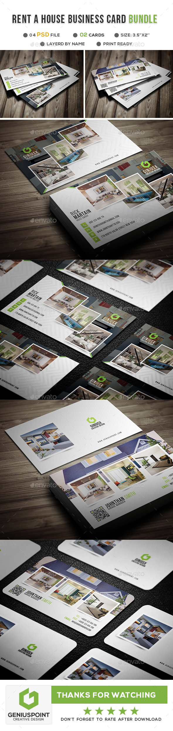 GraphicRiver Rent House Business Card Bundle 21134204