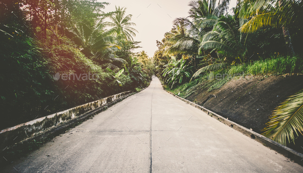 Road on tropical island - vintage retro style - Stock Photo - Images