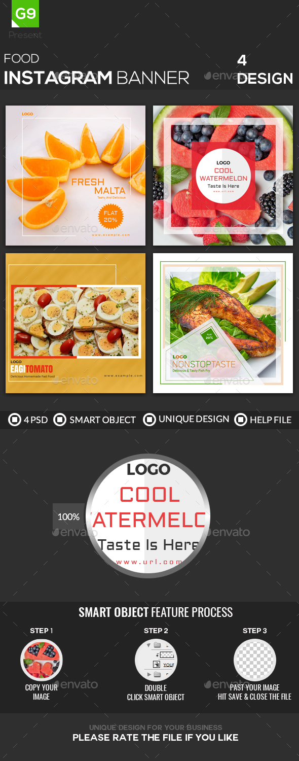 Food Instagram - Banners & Ads Web Elements