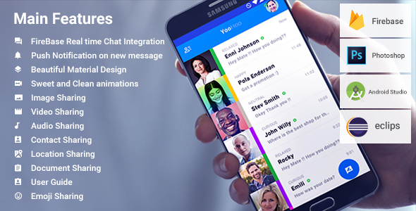 Download Source code              Android Chatting App with Firebase | YooHoo            nulled nulled version