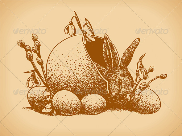 Easter Bunny Vintage Style - Animals Characters