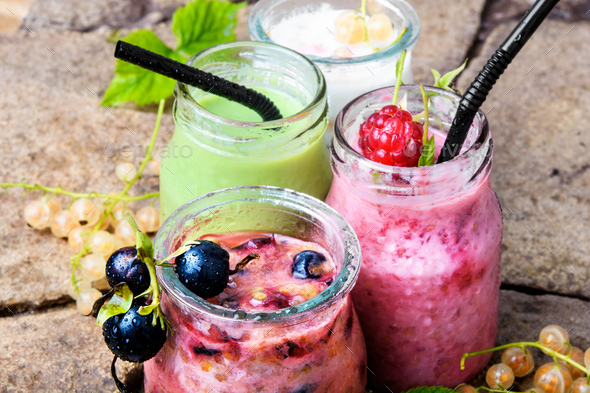 Healthy smoothies with fresh berry - Stock Photo - Images
