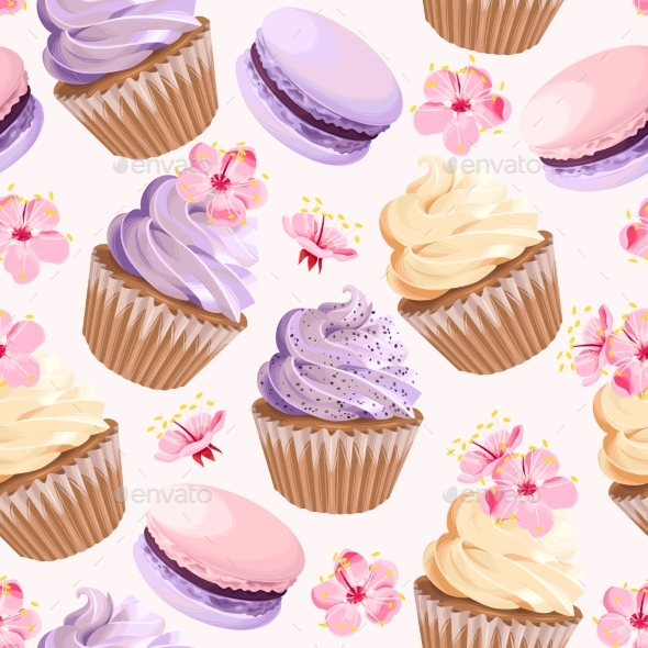 Seamless Cupcakes and Flowers - Backgrounds Decorative