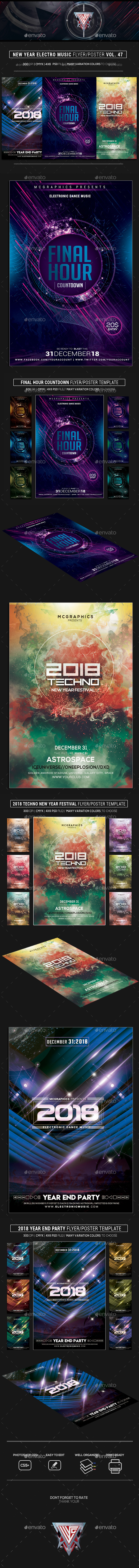 New Year Electro Music Flyer/Poster Bundle Vol. 47 - Events Flyers