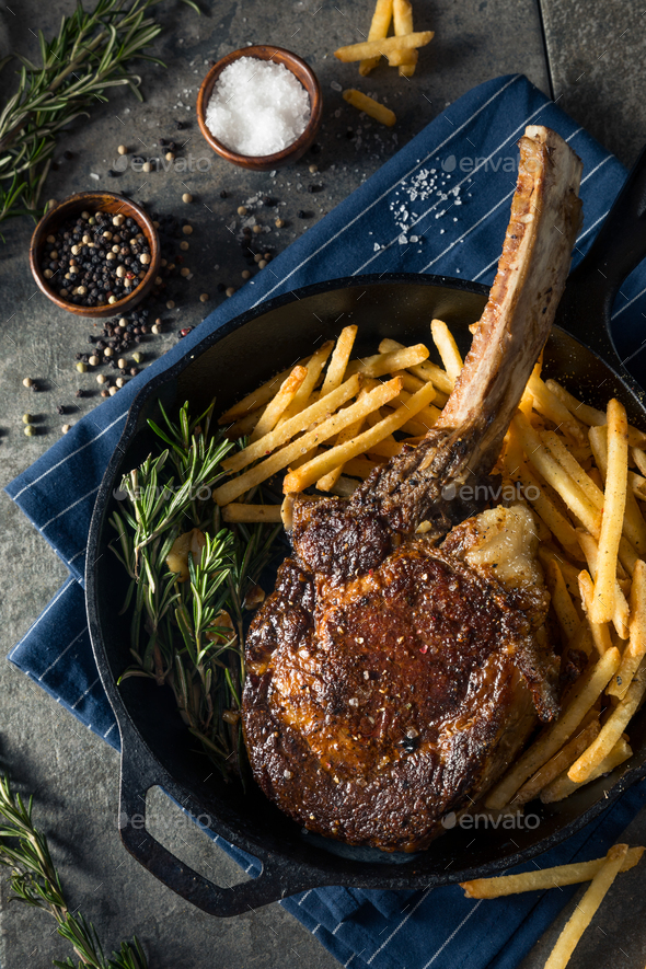 Cooked Grass Fed Tomahawk Steaks - Stock Photo - Images