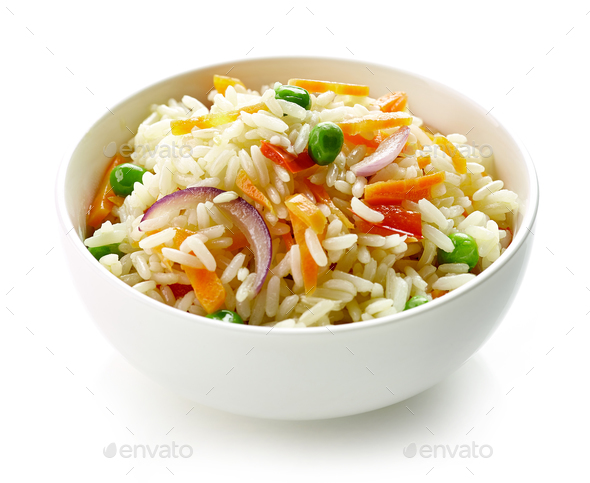 bowl of boiled rice with vegetables - Stock Photo - Images