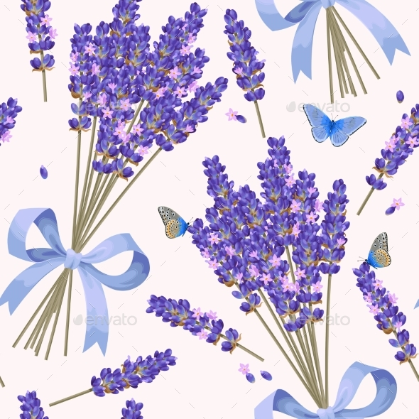 Lavender Flowers Seamless Pattern - Flowers & Plants Nature