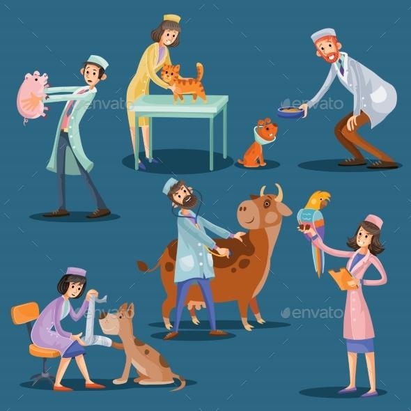 Vets with Pets Cartoon Vector Illustration - Health/Medicine Conceptual