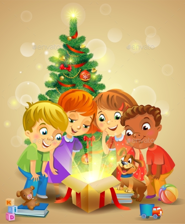 GraphicRiver Christmas Miracle Kids Opening a Magic Gift 21135383