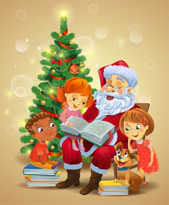 GraphicRiver Santa Claus Reading the Book To Children 21135390