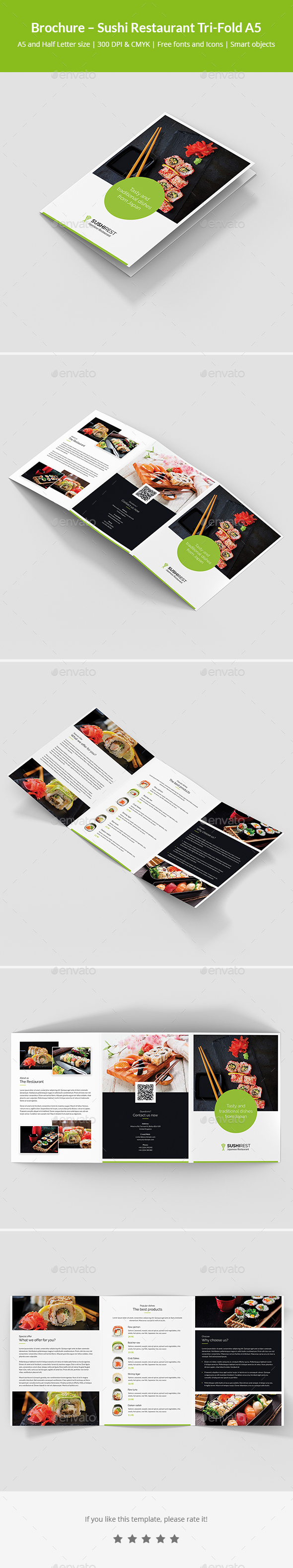 GraphicRiver Brochure Sushi Restaurant Tri-Fold A5 21135418