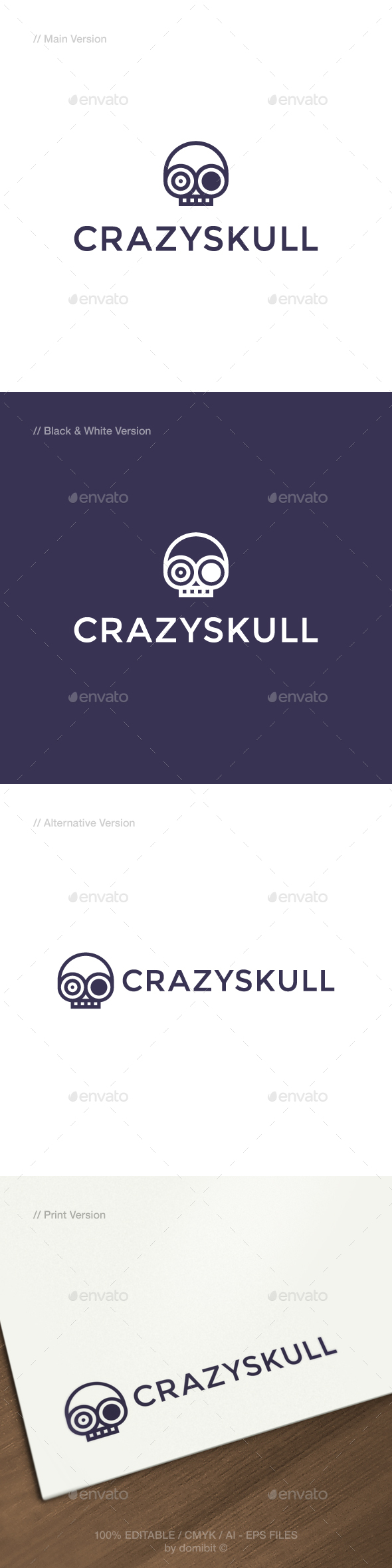 GraphicRiver Crazy Skull Logo 21135438