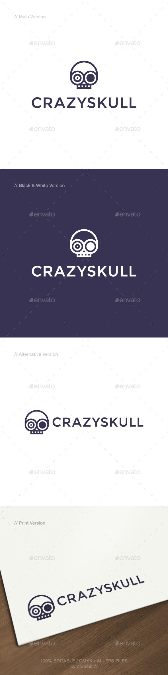Crazy Skull Logo - Humans Logo Templates