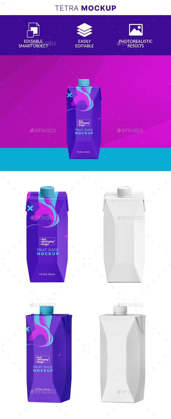 GraphicRiver Juice and Milk Tetra Pack Mockup 21135823